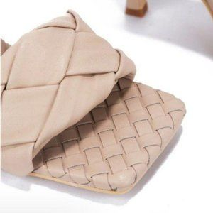 Shoes - !! EXCLUSIVE !! Square Toe Braided Mule in Nude